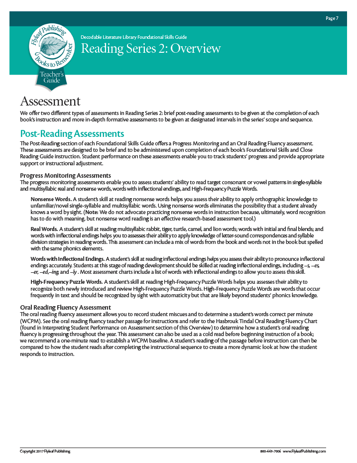 Reading Series Two Assessment Overview